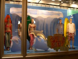 Surfboard window display at Old Navy