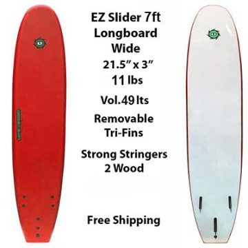 7ft EZ Slider Foamie Soft Surfboard Red
