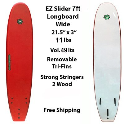 7ft Ez Slider Foamie Soft Surfboard For Beginners Kids Adult Surfers
