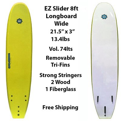 8ft Ez Slider Foamie Soft Surfboard Classic Longboard Beginner