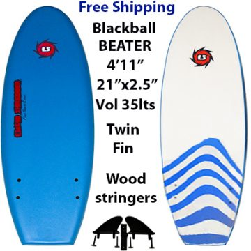 EZ Slider Blackball Beater Surfboards 4ft 11in Red