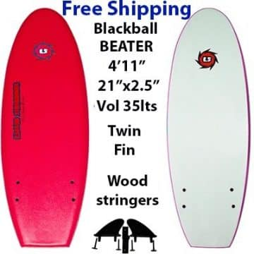 EZ Slider Blackball Beater Soft Surfboard